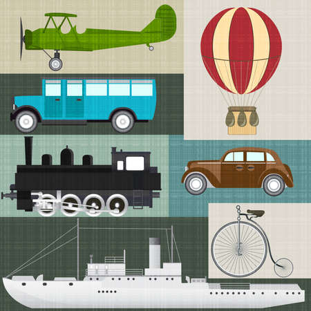 Vector set of retro transport Vector