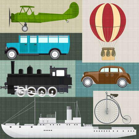 flying boat: Vector set of retro transport