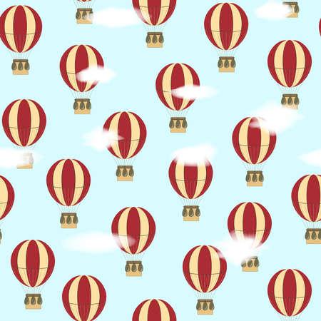 hot air ballon: Seamless vector pattern with balloons Illustration