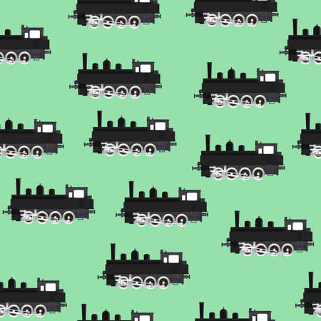 Seamless vector pattern with locomotives Vector
