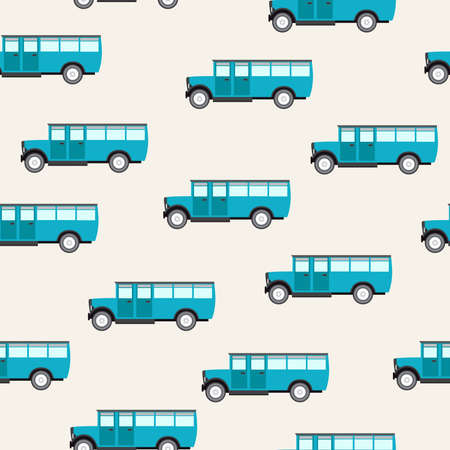 Seamless vector pattern with buses Vector