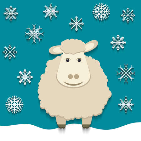 Vector illustration of the sheep, the symbol of 2015 Vector