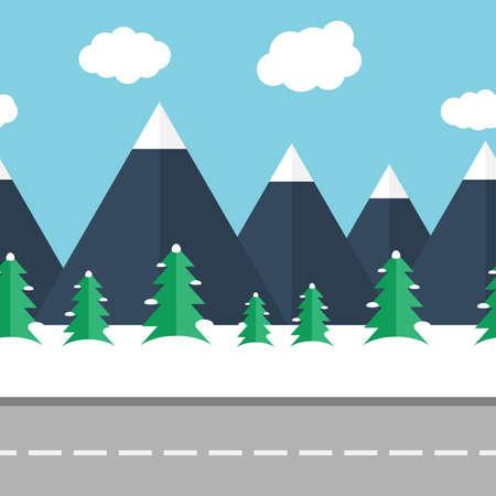 snowy mountains: Seamless vector illustration of winter mountain landscape
