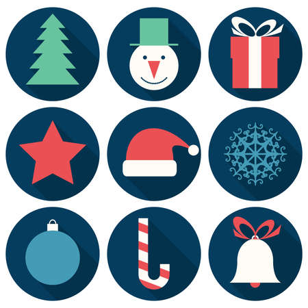 Vector illustration with flat Christmas icons Vector