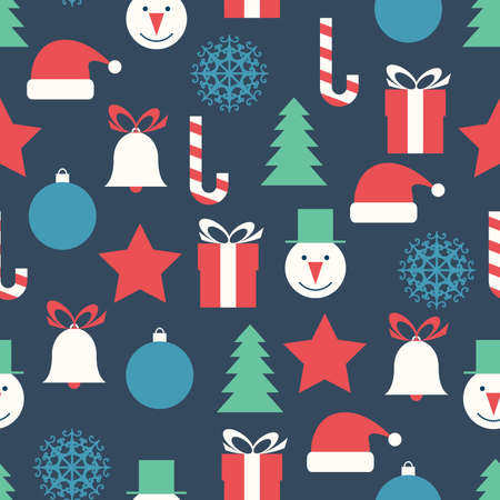 Seamless vector pattern with flat Christmas icons