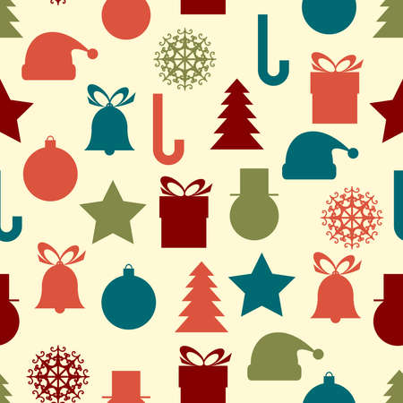 Seamless vector pattern with flat Christmas icons Vector