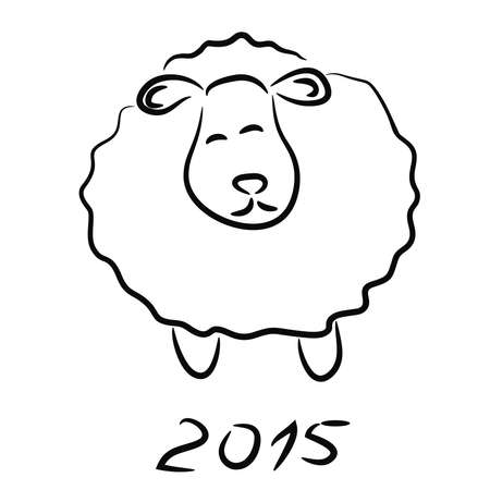 Vector illustration with Sheep sketch 2015 Vector