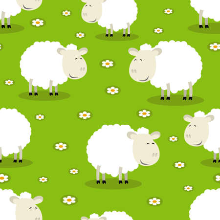 Seamless vector pattern of funny sheep symbol of 2015 Vector