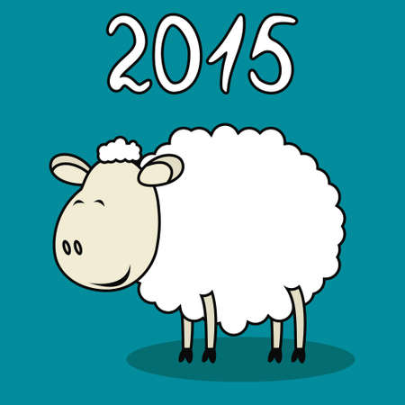 Vector illustration of funny sheep symbol of 2015 Vector