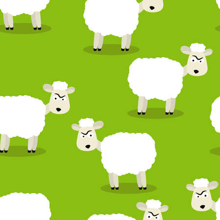 Seamless vector illustration of funny sheep symbol of 2015 Vector