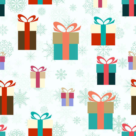 Seamless flat vector illustration of colorful gifts Vector