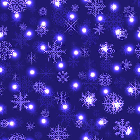 Vector pattern of Christmas background with lights and snowflakes Vector