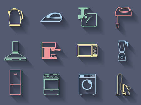 mincer: Set of the vector household appliances icons Illustration