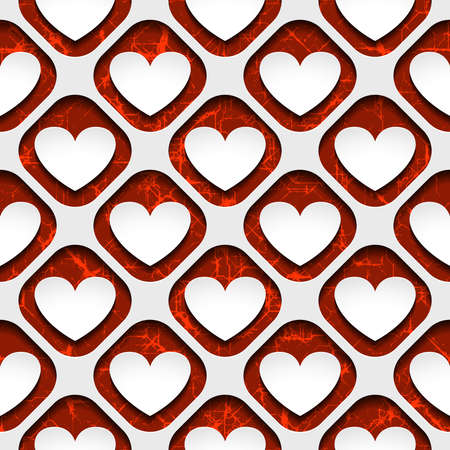 Seamless vector pattern of a hearts with shadow Vector
