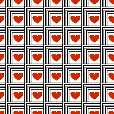 Seamless vector pattern with red hearts Vector