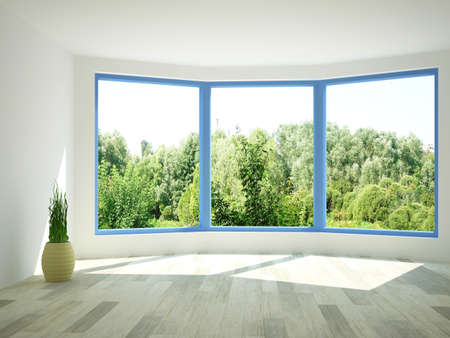 Interior of an empty room with windows Stockfoto