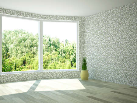 Interior of an empty room with windows photo
