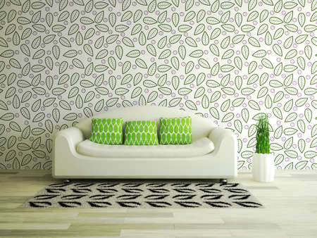 Interior room with white sofa and green pillows Standard-Bild