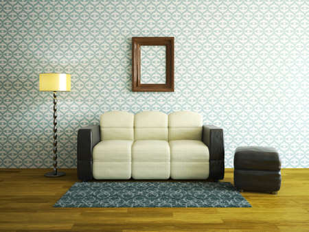 vintage living room: Interior room with leather sofa and pouffe Stock Photo