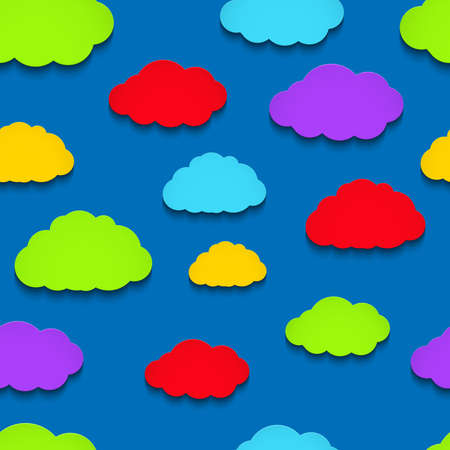 Vector background with colorful paper clouds Vector