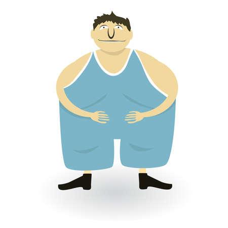 fleshy: Vector illustration of a fat man
