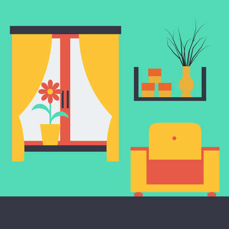 Vector illustration of a room interior with furniture Vector