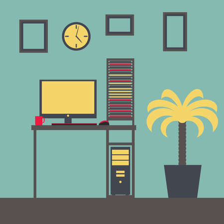 Flat vector illustration of a workplace with a computer Vector