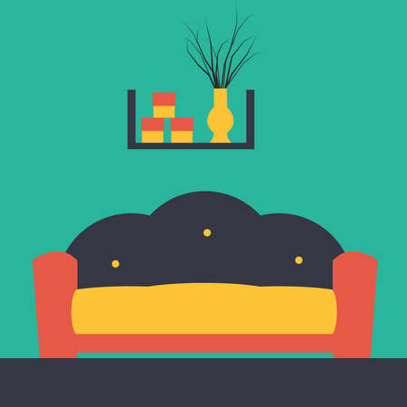 Vector illustration of a living room interior with furniture Vector
