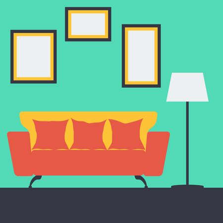 vintage living room: Vector illustration of a living room interior with furniture Illustration