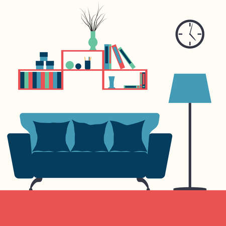 livingroom: Vector illustration of a living room interior with furniture Illustration