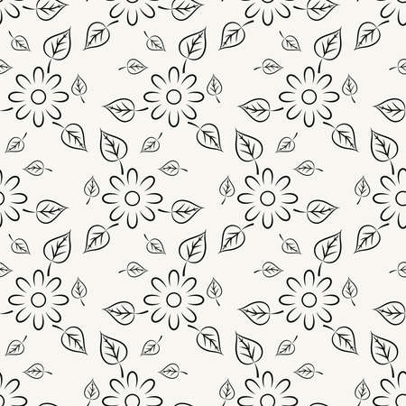 Seamless vector pattern with black flowers and leafs Illustration