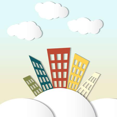 color paper: Ilustraci�n del vector con casas de papel de colores y nubes