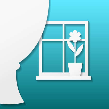 window curtain: Vector illustration of an white paper window and curtain with shadow Illustration