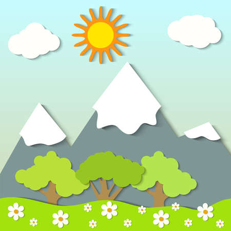 Vector illustration of a landscape with paper clouds and trees
