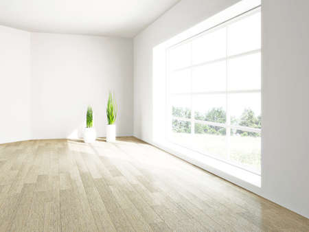 Interior of the empty room with a window