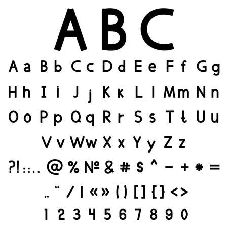 tipos de letras: Ilustración vectorial con el alfabeto y los números negro sobre un fondo blanco Vectores