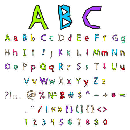 graffiti alphabet: Vector illustration with color graffiti alphabet and numbers on a white background