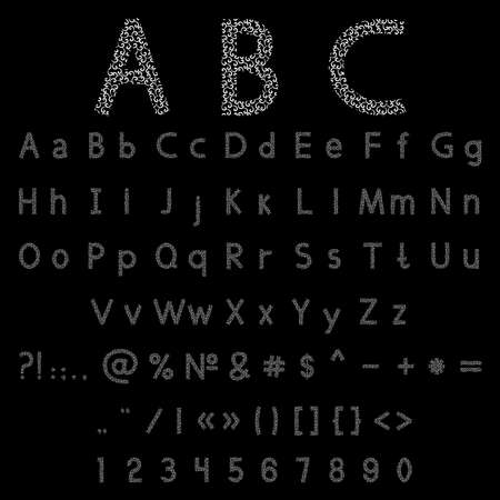 doddle: Vector illustration of a black alphabet and numbers with curl elements on a black background Illustration
