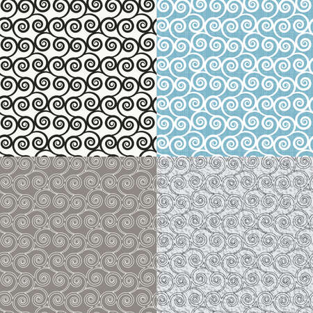 curls: illustration with set of the seamless backgrounds with abstract curls