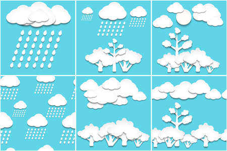 Vector illustration with set of the nature paper backgrounds