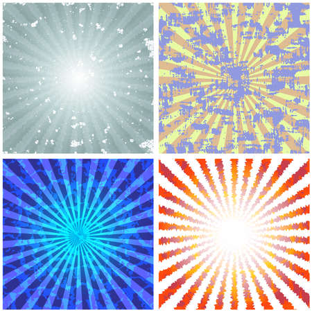 color: Vector illustration with set of the bright backgrounds with abstract rays