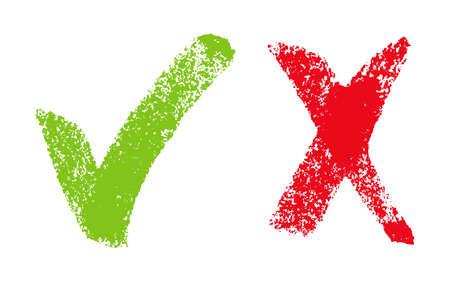 Vector illustratie met groen en rood hand getekende grungy vinkje