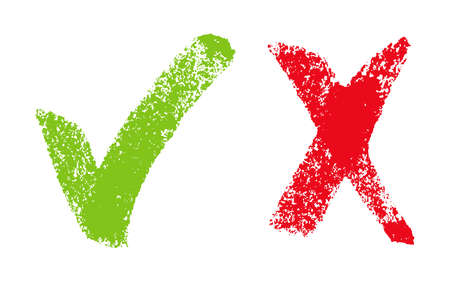 check: Vector illustration with green and red hand drawn  grungy checkmark