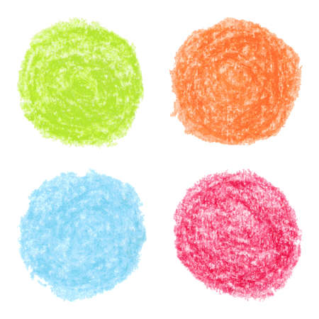 Vector illustration with set of the hand drawn grungy colored crayon spots Illustration