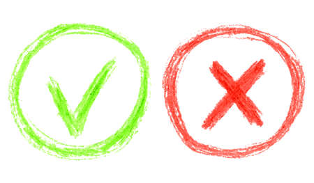 red hand: Vector illustration with green and red hand drawn grungy checkmark