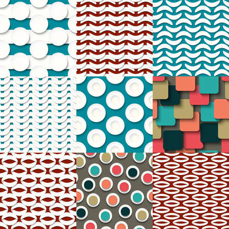 abstract pattern: Vector illustration with set of the seamless backgrounds with abstract elements Illustration