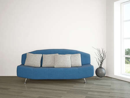 white pillow: Interior room with blue sofa and vase near the wall Stock Photo