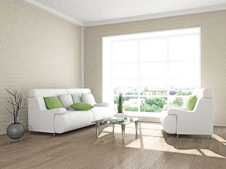 livingroom: Interior with sofa and armchair, near the brick wall in the room Stock Photo
