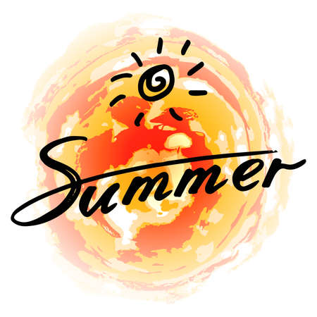 Summer:  text and sun symbol on a colorful background. Decoration poster with sun. Summer calligraphy. The quote written by ink. Letters painted with a brush. illustration. Illustration