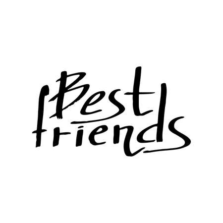 best friends forever: Best Friends:  text on white background. The calligraphic greeting: Best Friends. Quote about friendship. Decoration letters.  lettering. illustration.